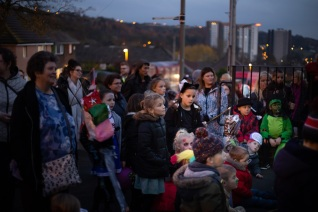 Lantern Parade gathers outside the library